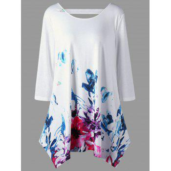Floral Plus Size Cutout Tunic Top