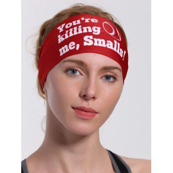 Sport Letters Printed Cycling Headband -  RED