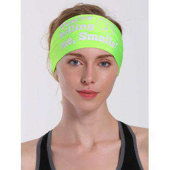 Sport Letters Printed Cycling Headband -  NEON GREEN