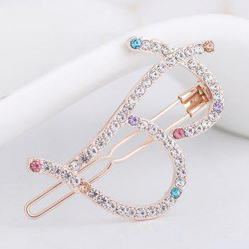 Letter B Shape Rhinestone Inlay Hairclip - COLORFUL COLORFUL
