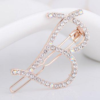 Letter B Shape Rhinestone Inlay Hairclip - WHITE WHITE