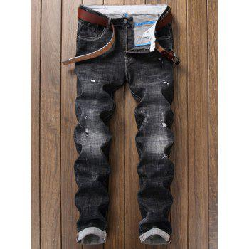 Destroy Wash Zipper Fly Graphic Embellished Ripped Jeans - DEEP GRAY 34