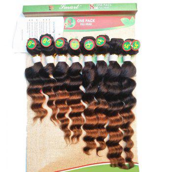 8PCS Different Sizes Caribbean Deep Wave Hair Weaves - BROWN BROWN