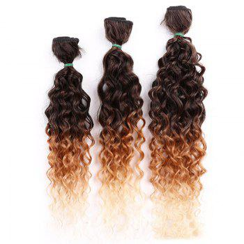 6PCS 14~18 Inches Colormix Jerry Wave Hair Weaves - GRADUAL BROWN