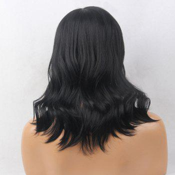 Full Bang Medium Slightly Curled Human Hair Wig -  JET BLACK
