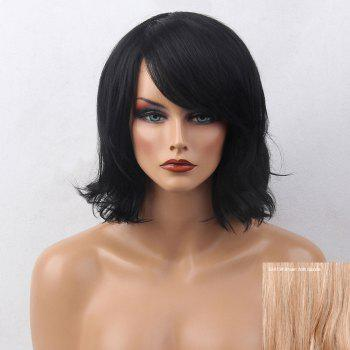 Short Side Bang Slightly Curly Bob Human Hair Wig