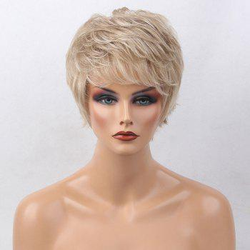 Short Side Bang Colormix Layered Tail Upwards Slightly Curly Human Hair Wig - COLORMIX COLORMIX