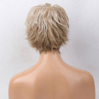 Short Side Bang Colormix Layered Tail Upwards Slightly Curly Human Hair Wig -  COLORMIX