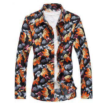 3D Butterflies and Maple Leaves Print Plus Size Shirt