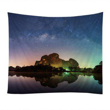 Wall Hanging Art Starry Night Lake Print Tapestry - COLORFUL W79 INCH * L59 INCH