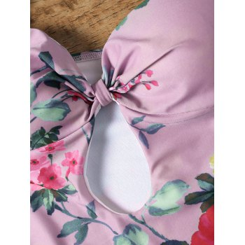 Keyhole Floral One Piece Swimsuit - PINK 2XL