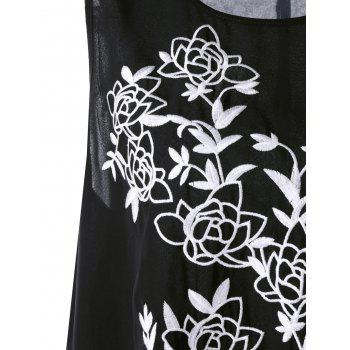 Plus Size Floral Embroidered Asymmetric Top - BLACK 5XL