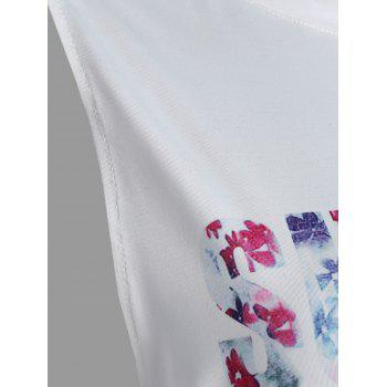 Summer Love Graphic Dropped Armhole Tank Top - Blanc L