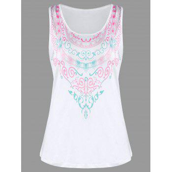 Racerback Printed Tank Top - WHITE L