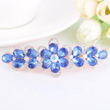 Artificial Crystal Rhinestone Inlaid Floral Barrette - BLUE BLUE
