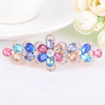 Artificial Crystal Rhinestone Inlaid Floral Barrette