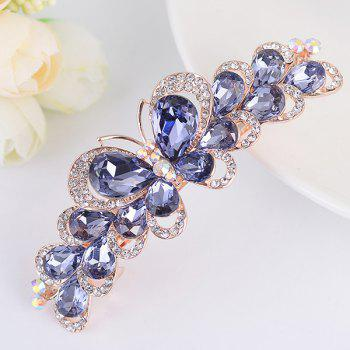 Butterfly Design Faux Gemstone Inlay Rhinestone Barrette - LIGHT PURPLE LIGHT PURPLE
