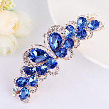 Butterfly Design Faux Gemstone Inlay Rhinestone Barrette - BLUE BLUE