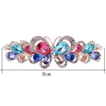 Butterfly Design Faux Gemstone Inlay Rhinestone Barrette -  COLORFUL