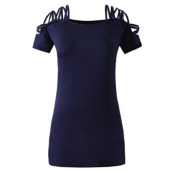 Lace Up Shoulder Short Sleeve Fitted Dress