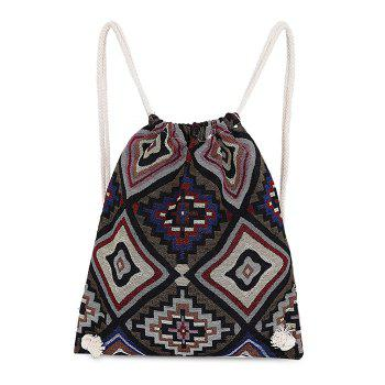 Tribal Print Drawstring Backpack