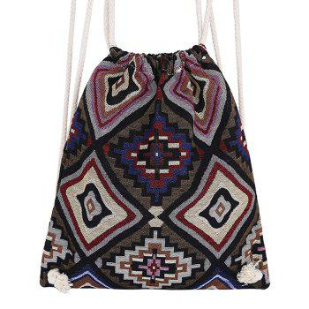 Sac à dos drawstring tribal - Café