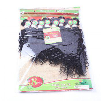 8PCS Human Hair Mixed Synthetic Fiber Caribbean Jerry Curly Hair Weaves - BLACK BLACK