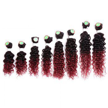 8PCS Human Hair Mixed Synthetic Fiber Caribbean Jerry Curly Hair Weaves -  WINE RED