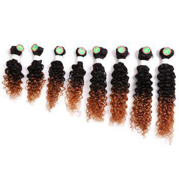 8PCS Human Hair Mixed Synthetic Fiber Caribbean Jerry Curly Hair Weaves - BROWN BROWN