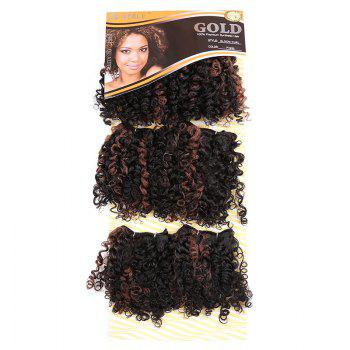 6PCS Short Shaggy Colormix Bloom Afro Curly Synthetic Hair Weaves - DEEP BROWN DEEP BROWN