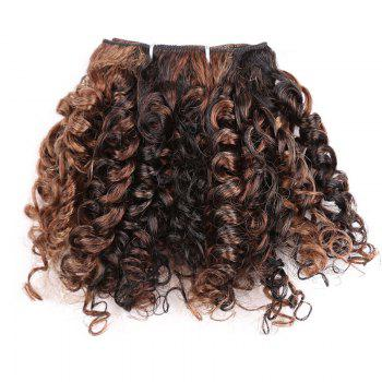 6PCS Short Shaggy Colormix Bloom Afro Curly Synthetic Hair Weaves - LIGHT BROWN