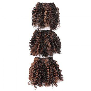 6PCS Short Shaggy Colormix Bloom Afro Curly Synthetic Hair Weaves - Brun Clair
