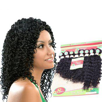 8PCS Different Sizes Unprocessed Remy Curly Blended Hair Weaves - BLACK BLACK