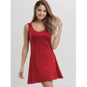 Casual Mini Flare Tank Dress - RED RED