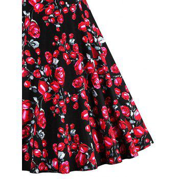 Vintage Floral Print Skater Party Dress - BLACK BLACK