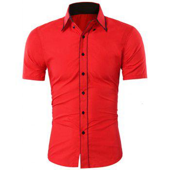 Contrast Trim Button Down Collar Shirt - RED M