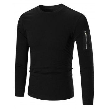 Zip Shoulder Stretch Long Sleeve T-shirt - BLACK M