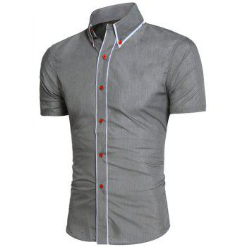 Contrast Trim Button Down Collar Shirt - GRAY GRAY