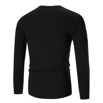 Long Sleeve Metal Embellished Tee - BLACK M