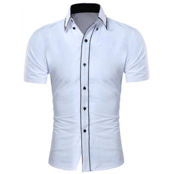 Contrast Trim Button Down Collar Shirt