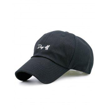 Plain Letters Embroiderid Baseball Cap - BLACK BLACK