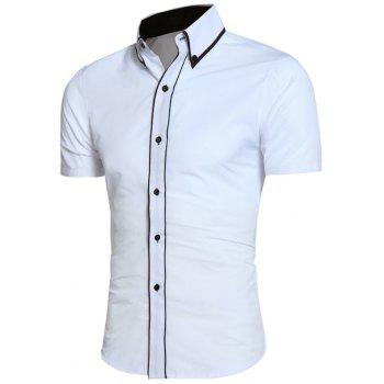 Contrast Trim Button Down Collar Shirt - WHITE M