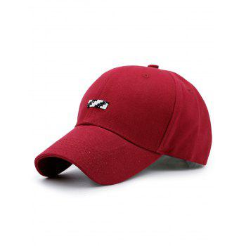 Baseball Hat with Tiny Rectangle Patchwork - RED RED
