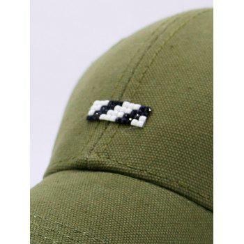 Baseball Hat with Tiny Rectangle Patchwork - GREEN