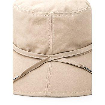 Sunscreen Bucket Cap with Ribbon - APRICOT