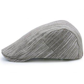 Outdoor Newsboy Cap with Irregular Pinstripe - KHAKI KHAKI
