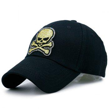 Outdoor Baseball Hat with Shimmer Skull Patchwork - BLACK BLACK