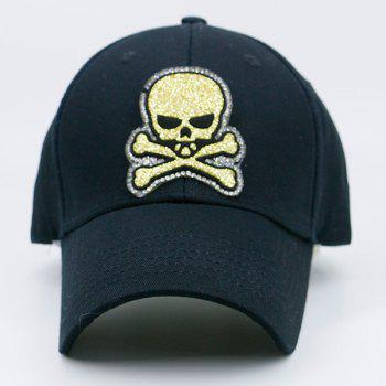 Outdoor Baseball Hat with Shimmer Skull Patchwork -  BLACK