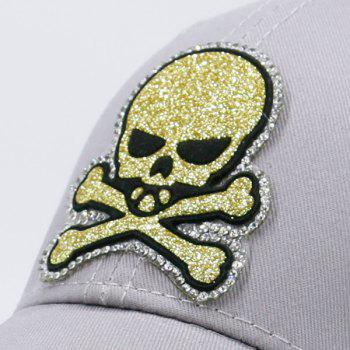 Outdoor Baseball Hat with Shimmer Skull Patchwork -  GRAY
