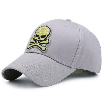 Outdoor Baseball Hat with Shimmer Skull Patchwork - GRAY GRAY